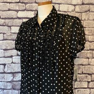 Style & Co. NWT Polka Dot Sheer Blouse Size 16W